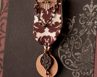 Steampunk Art Deco Medal in Copper and Sepia Damask