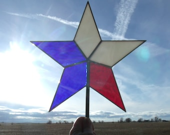Patriotic Christmas Tree Topper Star, Red White and Blue