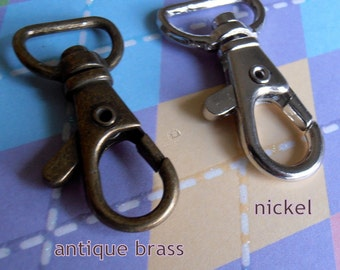 5 Pieces Lobster Swivel Clasps - 1.5 inch x 0.6 inch (CHOOSE YOUR FINISH: antique brass and nickel finish)