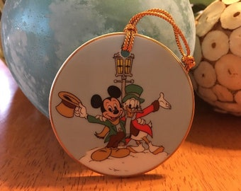 Walt Disney's Mickey's Christmas Carol Bob Cratchit Ebenezer Scrooge Disc Ornament Mickey Mouse Donald Duck