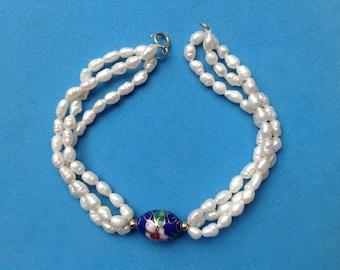 Vintage! 14k gold multi colored cloisonne bead & freshwater pearl 3 strand bracelet.