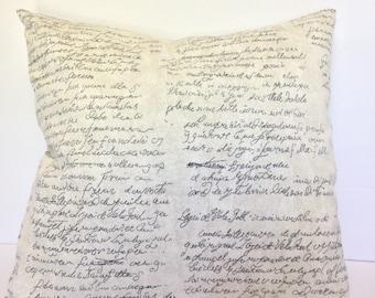 Script Print Pillow Cover