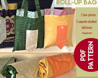 The Pretty Roll-Up Bag PDF sewing pattern - grocery bag pattern - shopping bag pattern - beginner sewing pattern