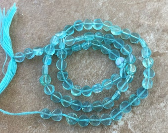 Aqua Apatite Coin Beads, Apatite Beads, Grade AAA, 4mm Approx (2mm thick) 13 inch strand