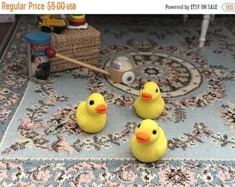 SALE Miniature Ducks, Set of 3 Plastic Mini Ducks, Chicks, Yellow Ducks, Crafts, Embellishments, Toppers