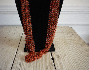 Vintage Multi Strand Faux Coral Bead Necklace