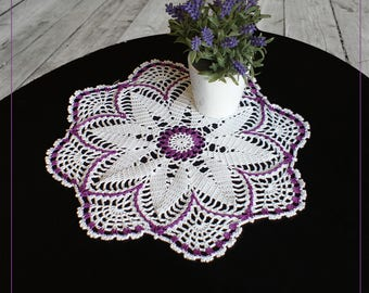 Crochet doily with a purple edging, diameter 12.2 inches color crochet doily, lace doilies for wedding tables