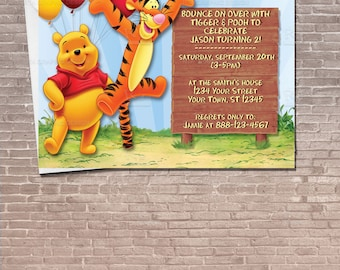 Personalized winnie the pooh water bottle label instant winnie the pooh and tigger party invitation download editable birthday invitation kids children filmwisefo Gallery