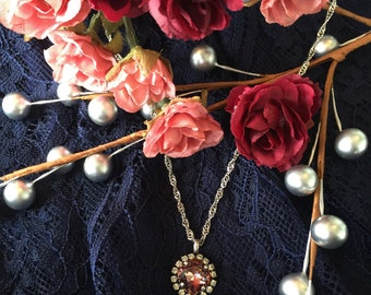 Blush rose Swarovski Crystal necklace.