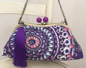 Vintage 1970's purple mandala barkcloth fabric clutch purse with kisslock frame