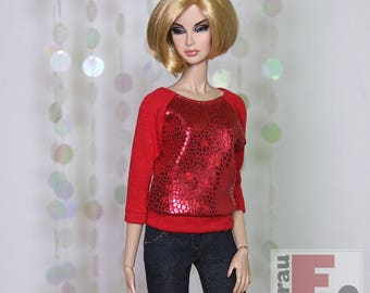 "Fashion Doll Sweater ""Snake Foil"" - rot"