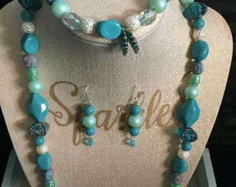 Feather turquoise set