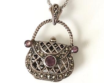 Silver Locket Necklace, Purse Locket Necklace, Marcasite Purse Necklace, Amethyst Locket Necklace, Vintage Purse Necklace