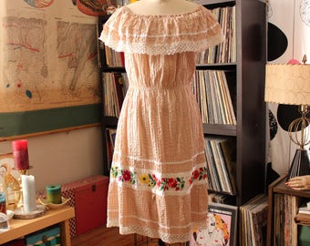 beige vintage off shoulder peasant dress with crochet lace & embroidered flowers, pin tuck Mexican folk dress