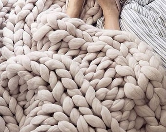 Super Chunky Knit Blanket Chunky Knit Blanket  Mink Brown  50 x 50  Use Code SPRING20