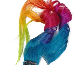 Colorful Rainbow Ombre Balayage Clip in Human Hair Extensions Boho Chic Festival Hair Cheerleaders Dance Recital Hair Styles blue pink red