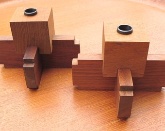 FIDDLESTICKS MidCentury Modern Stackable Wood Candle Holders made in U.S.