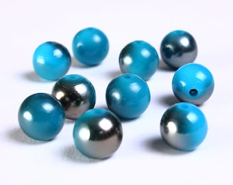 10pc 10mm Blue grey gray acrylic resin beads 10 (882)