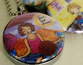 Yoga Locket Necklace - Meditation Locket - Magnetic, Recycled, Lori Portka, Polarity