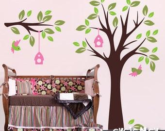 Children Wall Decal Wall Sticker Kids Wall decal Art - Birdland Tree with Birds - Children Wall Decals -TRBL030R