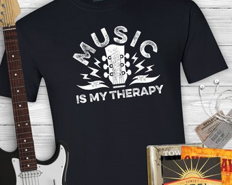 Music is my Therapy - Music T-shirt, guitar shirt, mens or womens shirt