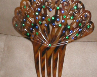 Antique Large Fan Shaped Tortoise Celluloid Peineta Hair Comb with Blue & Green Stones