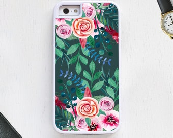 Cute boho vintage garden w/flowers daisys leaves turquoise CellPhoneCase protective bumper cover iPhone6 iPhone7 Android s5s6s7 note4note104