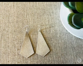Silver Geo Teardrop Leather Earrinngs