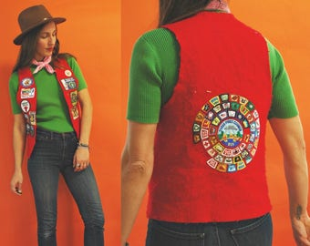 vintage Cherry Red Felt Girl - Boy Scout Vest with Chicago / Illinois Patches