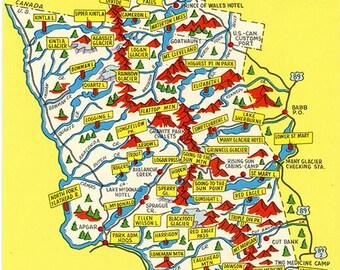 Glacier National Park Map Montana Vintage Postcard (unused)