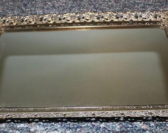 Vanity Tray Mirror Vintage Vanity Mirror Tray Gold Dresser Tray Jewelry Tray Perfume Tray Filigree Gold Tray