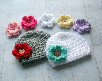 Crochet Baby Hat, Baby Girl Hat, Infant Crochet Hat, Set of 2 hats, 7 Interchangeable Flowers, Hat with Flowers, MADE TO ORDER Color choices