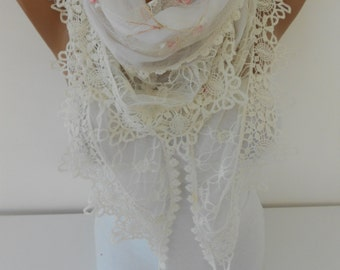 Lace Scarf White Scarf Shawl Tulle Cowl Scarf White Wedding Scarf Bridal Accessories   Fashion Accessories DERINS Holiday Gift