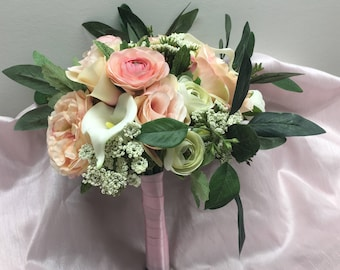 Blush Petite Bridal Bouquet with Calla Lilies, Eucalyptus, Pink Ranunculus, and Roses by The Chattanooga Wreath Company