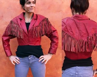 Vintage Women's Laced 1980's 1990s Red Fringe LEATHER MOTORCYCLE Biker Jacket Coat. Cropped Moto boho jacket gypsy jacket hippie jacket