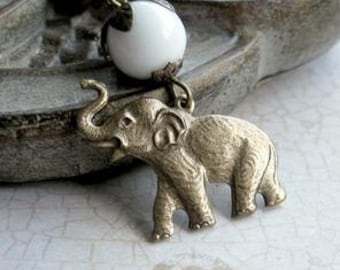 Elephant necklace, brass charm, womens gift, nature jewelry, white glass beads, brass chain, animal necklace, elephant pendant