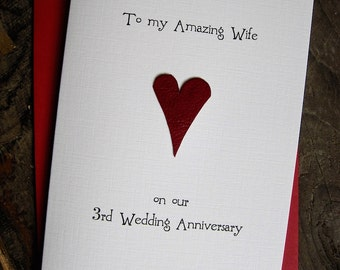 Rd wedding anniversary card leather traditional gift handmade