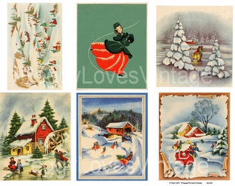 Skater 1 Digital Collages from Vintage Christmas Greeting Cards -  Instant Download - Cut Outs