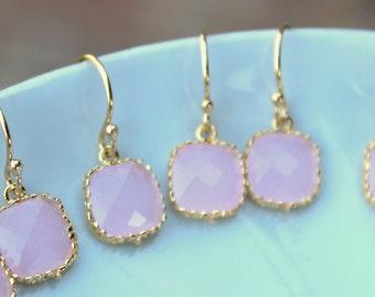 15% OFF SET OF 9 Wedding Jewelry Small Dainty Opal Pink Earrings Gold Light Pink - Wedding Jewelry Bridal Earrings Pink Bridesmaid Earrings