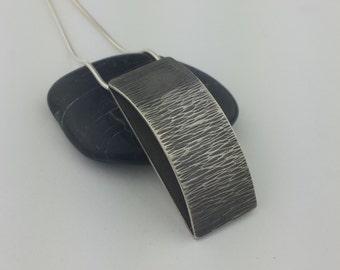 Sterling Silver Pendant, Unique Pendant, Bridge Pendant, Hollowform Necklace, Textured Pendant, Oxidized Pendant