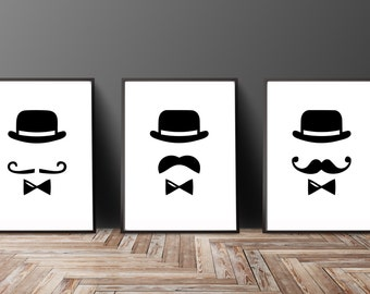 Gentlemen Print Set of 3 - Mustache Prints - Black White Art - Mustache Painting - Top Hat Bow Tie Wall Art - Man Cave Art -Gifts for Him