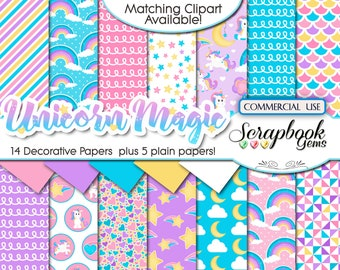 "UNICORN MAGIC Digital Papers, 19 Pieces, 12"" x 12"", High Quality JPEGs, Instant Download, magical, pegasus, girl's birthday party, rainbows"