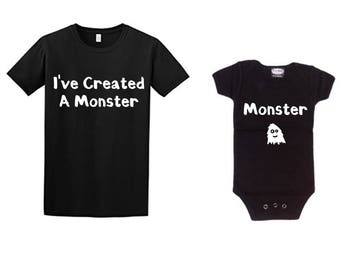 I've Created a Monster Baby and Daddy Bodysuit and Tshirt, Daddy and Me Shirts, Baby and Daddy Matching Shirt Set, Monster, Funny Baby Gift
