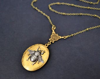 Locket Necklace Vintage Silver Bee Necklace Art Nouveau Inspired Necklace Long Pendant Necklace Handmade Jewelry Victorian Edwardian