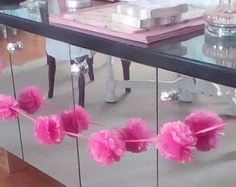 Tissue Pom Poms garland, Baby Shower, tissue pompoms, Party decorations, Wedding Shower, bedroom, tween party