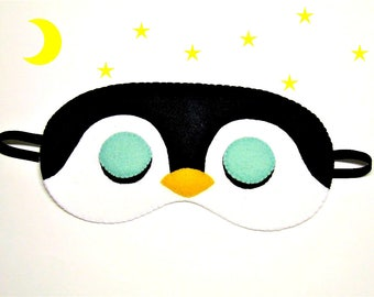 Sleep mask Penguin felt white black yellow Pajamas Spa night sleep party favors soft eye sleeping accessory - Gift for girl kids her him