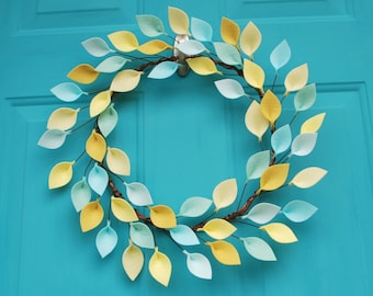 """Aqua, Mint and Yellow Spring or Summer Wreath with Felt Leaves - 16"""" Total Outside Diameter - Made to Order"""