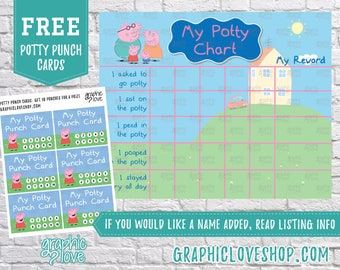 Printable Peppa Pig Potty Training Chart, FREE Punch Cards | Nick Junior | High Res Digital JPG Files, Instant download, Files NOT Editable
