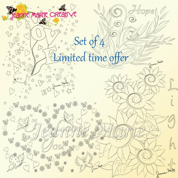 Set Of 4 Limited Time Offer Adult Colouring Page Coloring Digital Stamp Download Printable Jeanne Marie Creative From