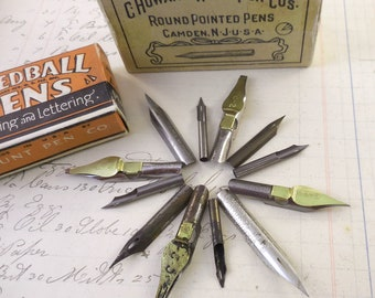 Vintage Pen Nibs one Dozen (12) Different makers,Calligraphy,Pen Nib Jewelry, Set #1